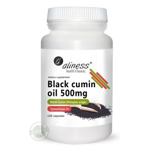 Black Cumin Oil 500mg (120 caps.) TYMOCHINON 2% ALINESS Poland
