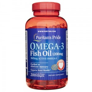 Oil Omega-3 1200mg Fish Oil - EPA DHA -  cod-liver oil - (200 softgels) Puritan's Pride