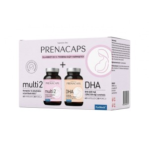 PrenaCaps Set 2 - Multi 2 + DHA - II and III Trimester Pregnancy -  (60 caps. x2) ForMeds